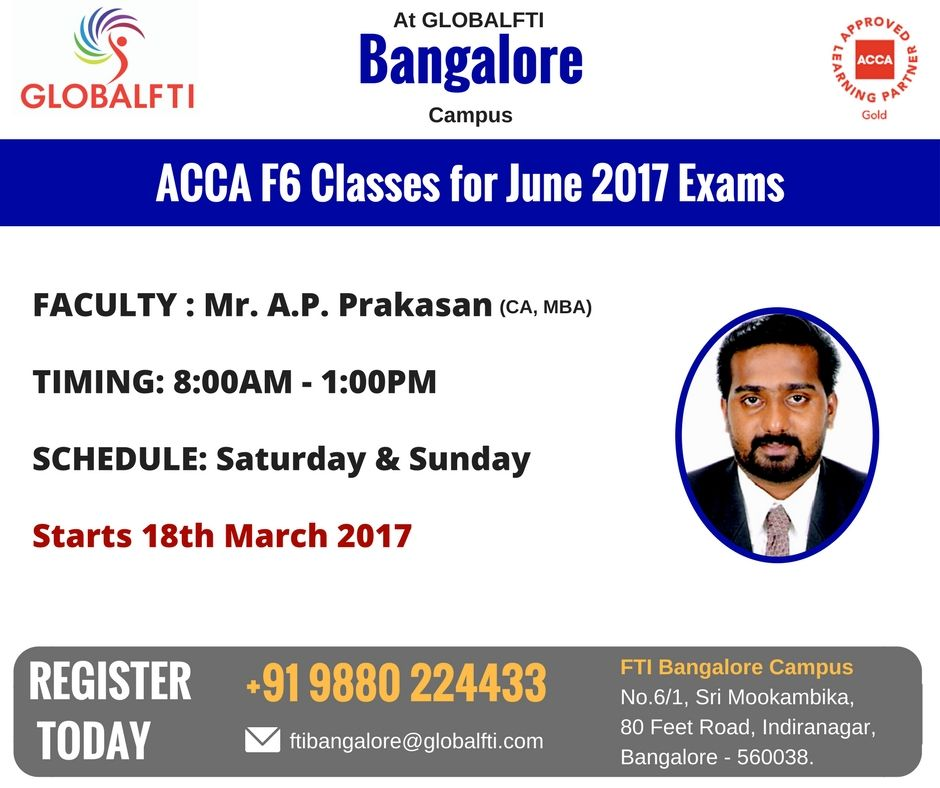 ACCA F6 Classes for June 2017