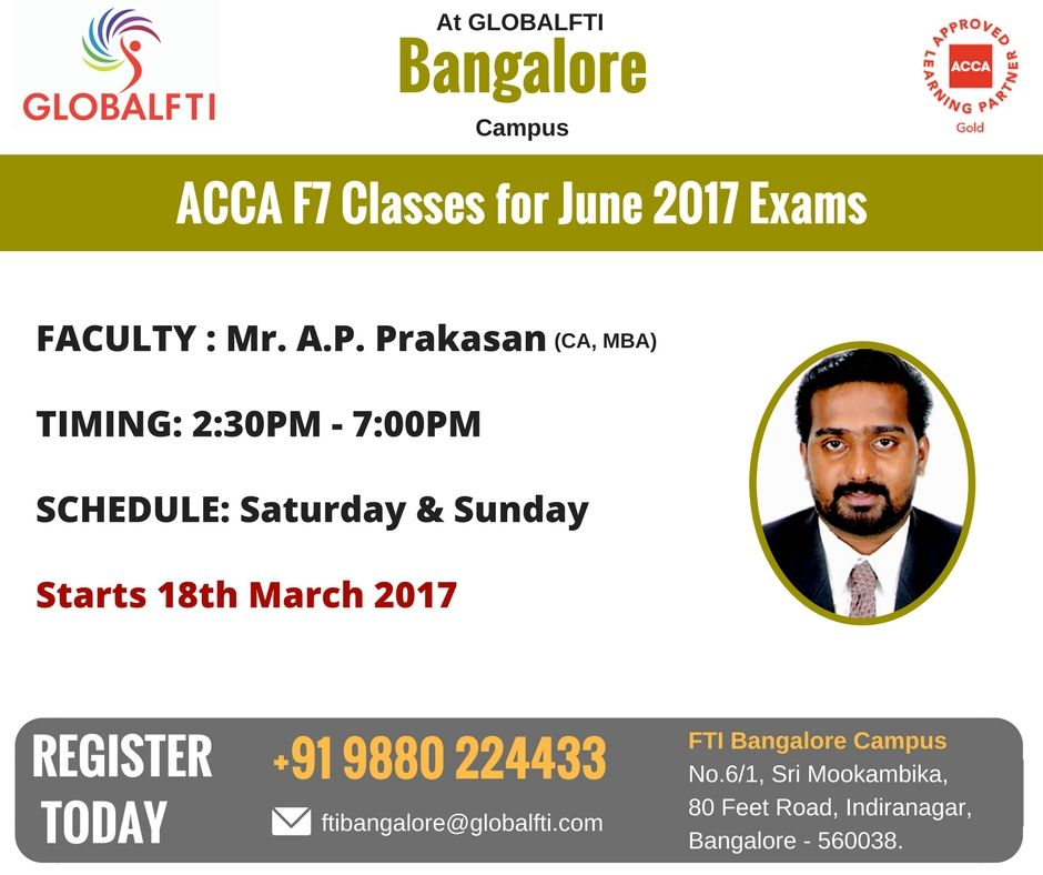 ACCA F7 Classes for June 2017 Exams