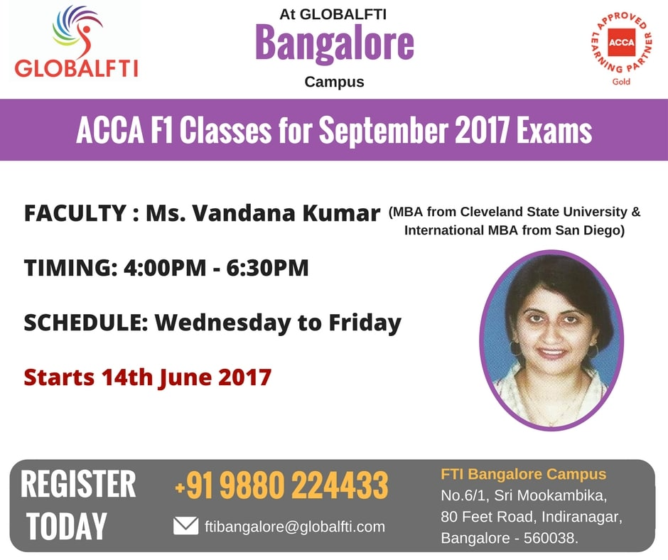 ACCA F1 Classes for September 2017 Exams