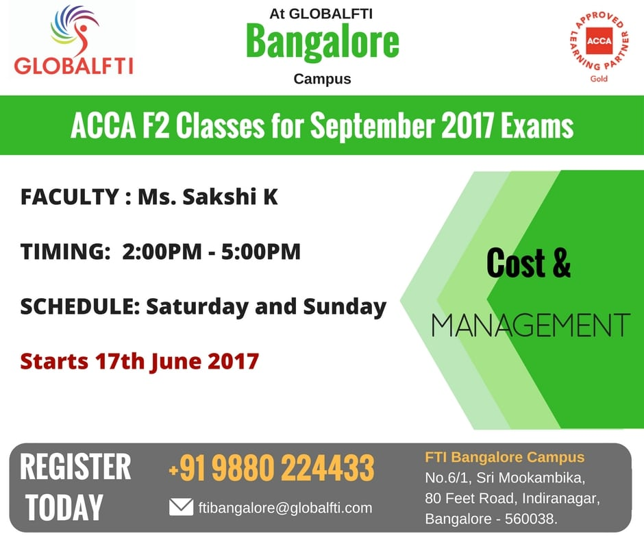 ACCA F2 Classes for September 2017 Exams