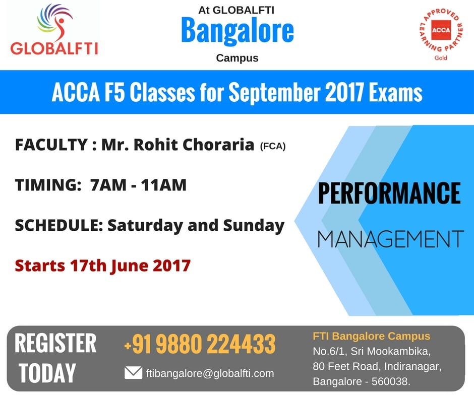 ACCA F5 Classes for September 2017 Exams