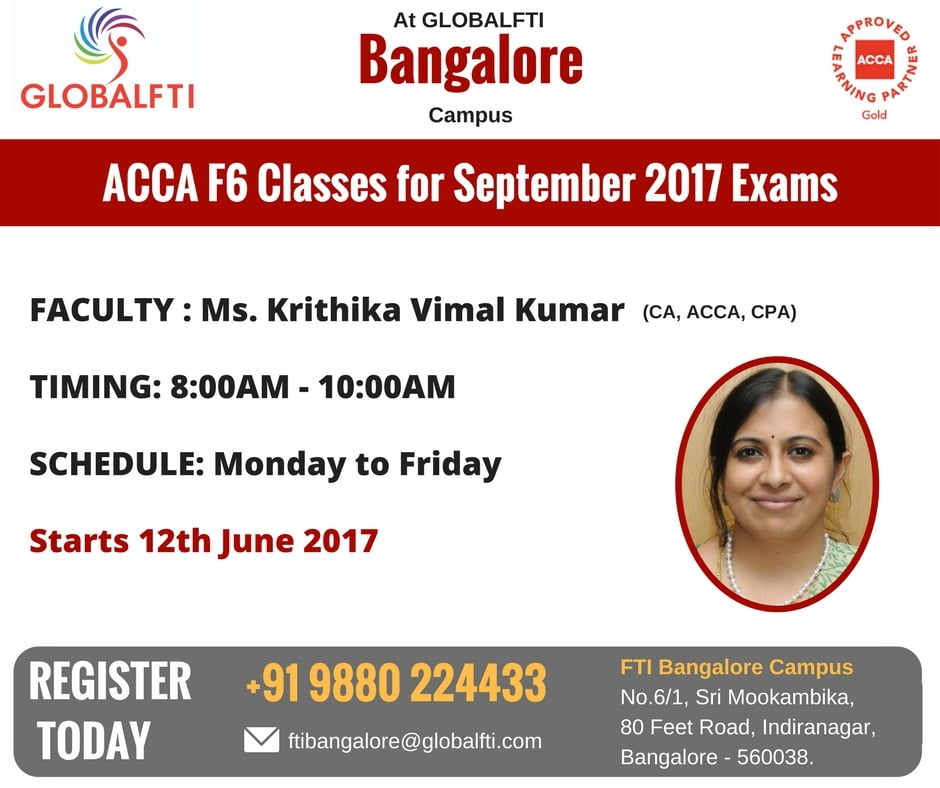 ACCA F6 Classes for September 2017 Exams