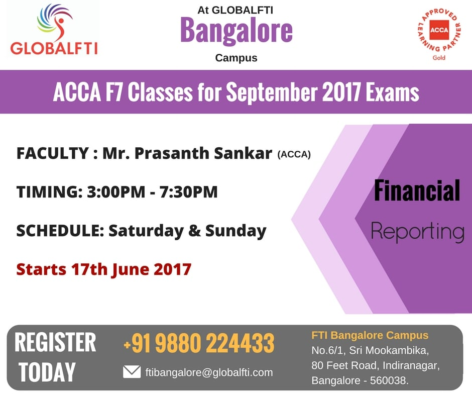 ACCA F7 Classes for September 2017 Exams
