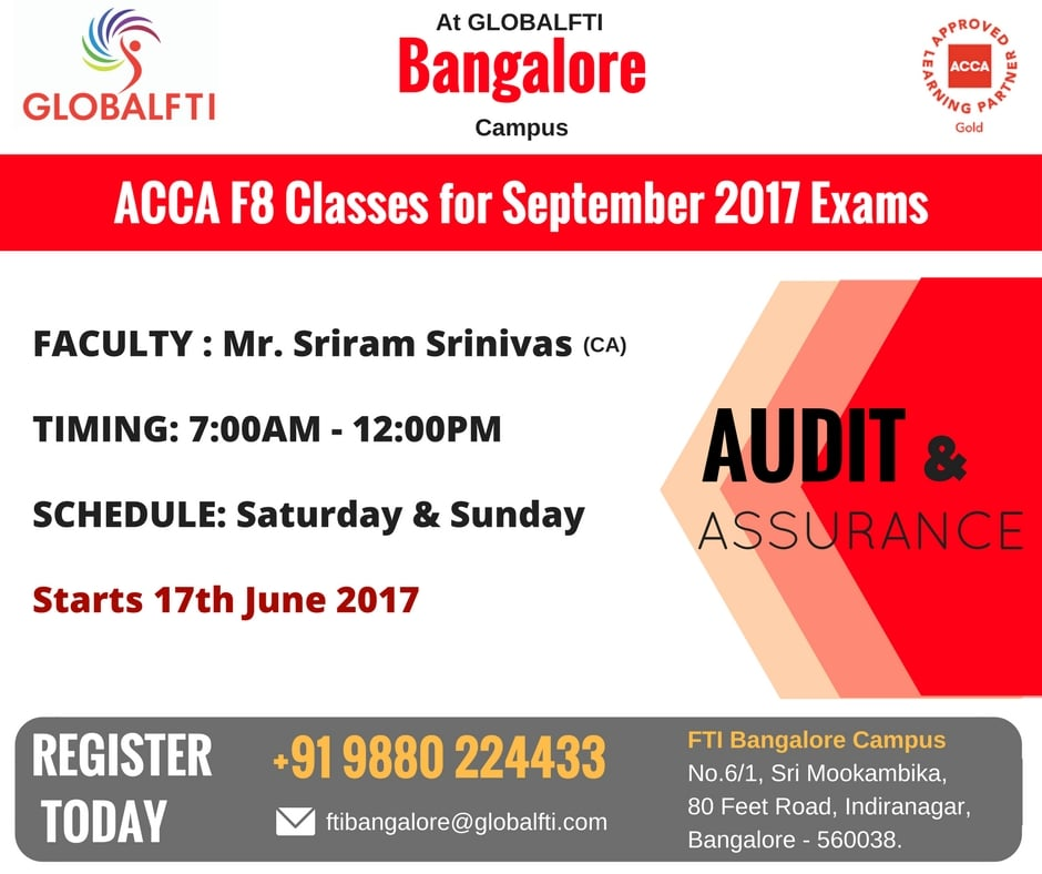 ACCA F8 Classes for September 2017 Exams