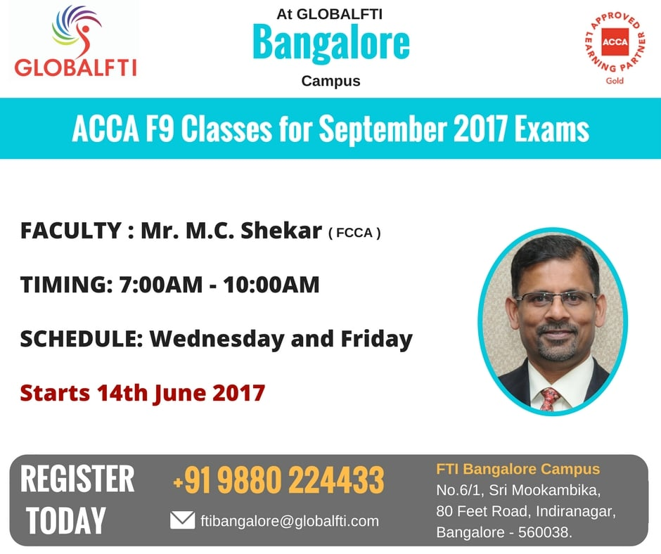 ACCA F9 Classes for September 2017 Exams