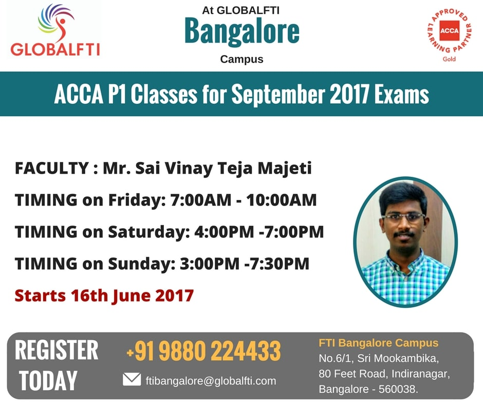 ACCA P1 Classes for September 2017 Exams