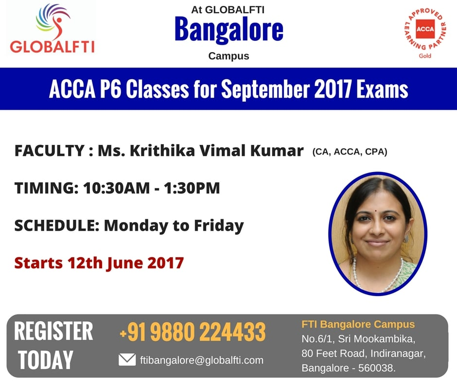 ACCA P6 Classes for September 2017 Exams