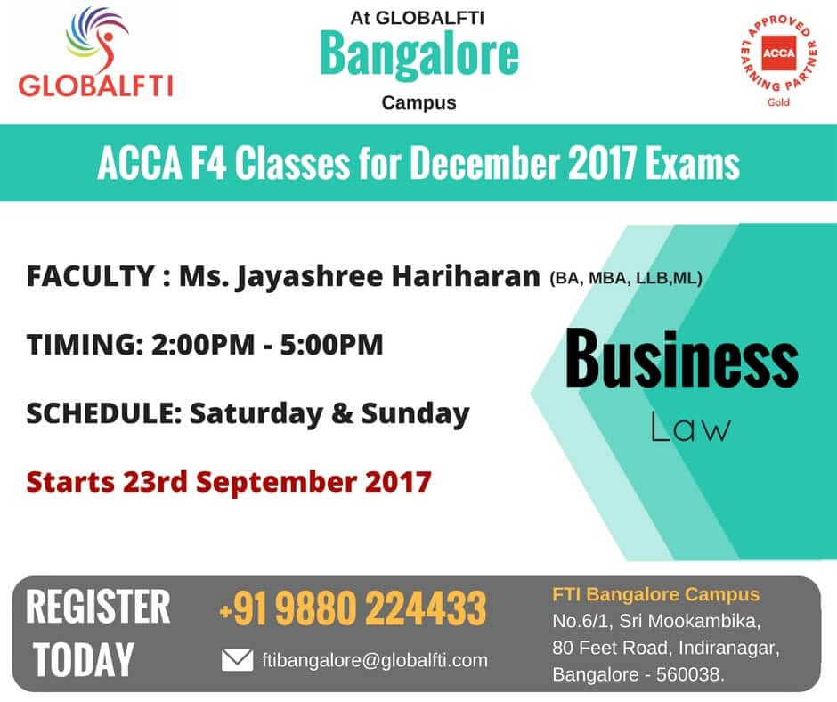 ACCA F4 Classes for December 2017 Exams