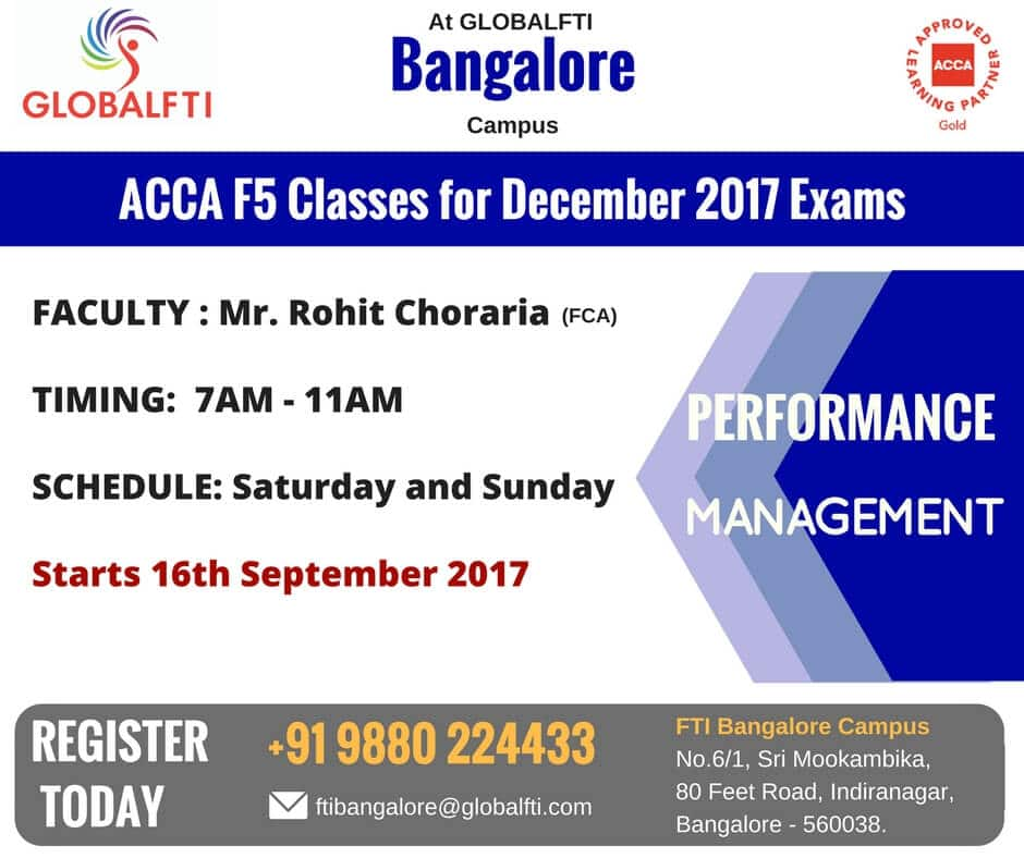 ACCA F5 Classes for December 2017 Exams