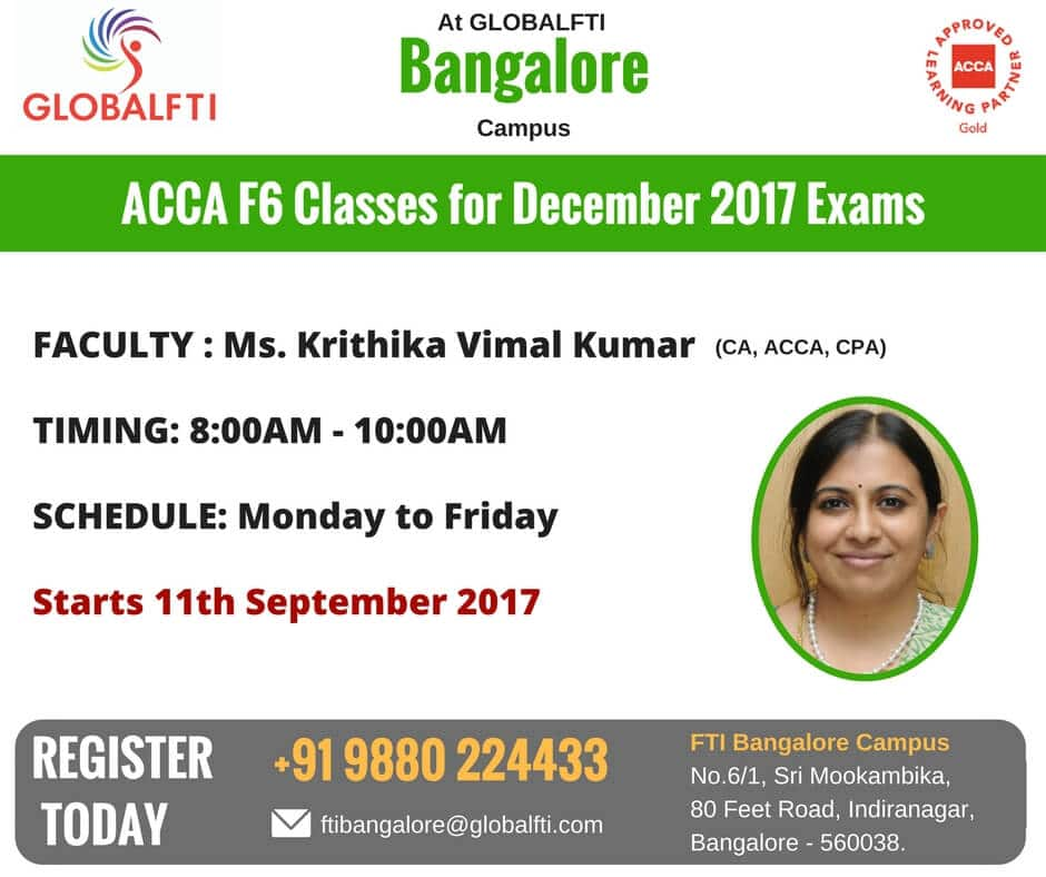 ACCA F6 Classes for December 2017 Exams