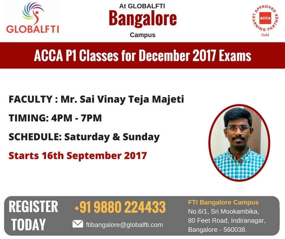 ACCA P1 Classes for December 2017 Exams