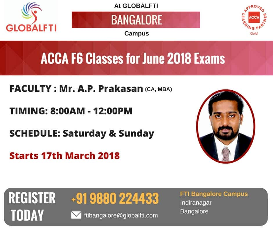 ACCA F6 Classes for June 2018 Exams