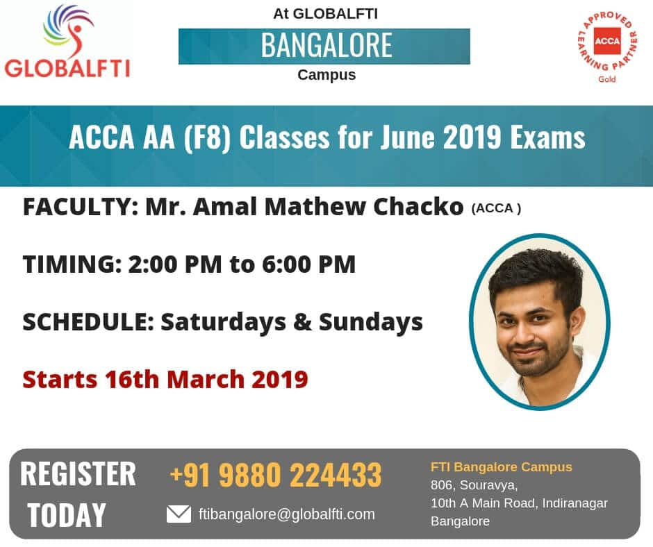 ACCA AA Classes for June 2019 Exams in Bangalore · Global FTI