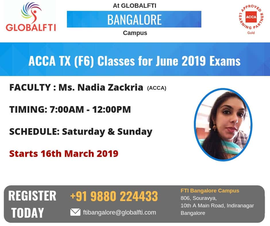 ACCA TX Classes for June 2019 Exams in Bangalore · Global FTI